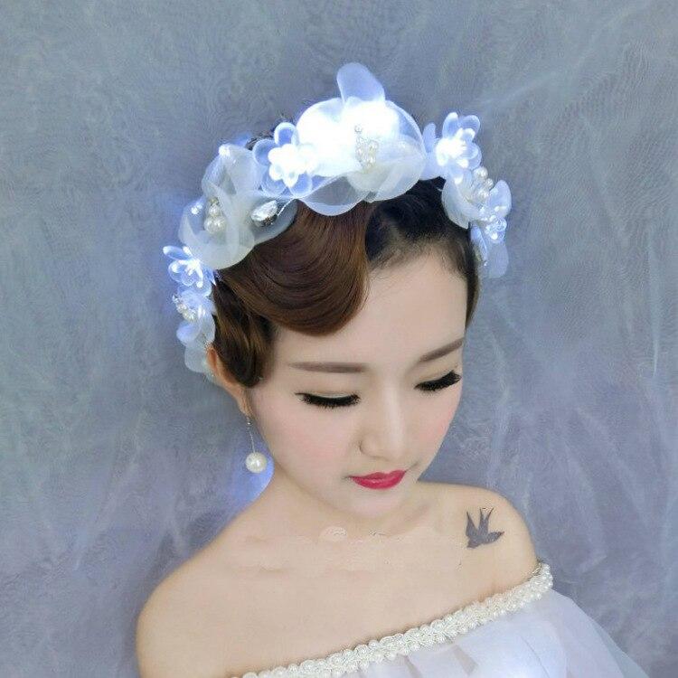 Mariée à la main diadème dentelle fleur tête fleur à la main perle de mariage accessoires de cheveux couronne coréenne robe de mariée