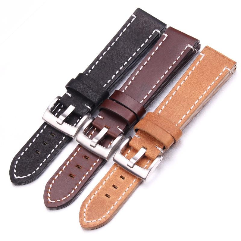 цена HENGRC Cowhide Genuine Leather Watchband Belt 18 20 22 24mm Men Women Thick Handmade Retro Watch Band Strap Metal Buckles онлайн в 2017 году