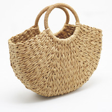 купить Straw weaving handbag shoulder bags female beach crossbody bags for women summer Handmade Woven Straw purse Bohemian дешево