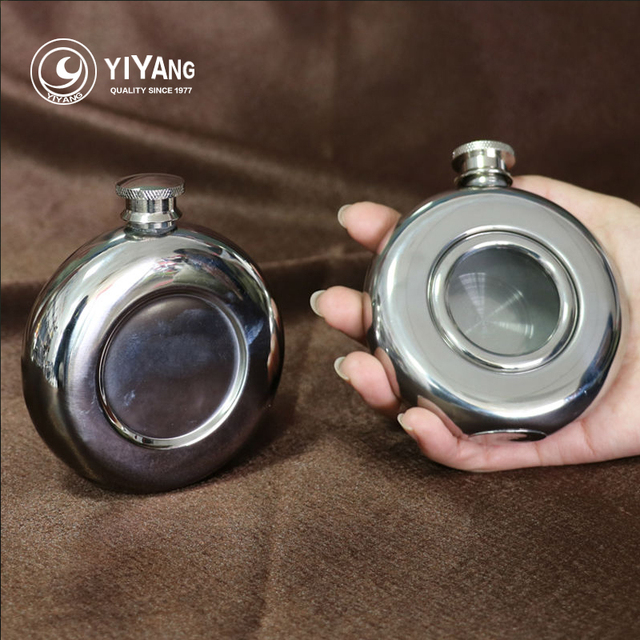 Outdoor Portable 5oz Round Shape Stainless Steel Hip Flask With Glass Flasks For Alcohol Whiskey Liquor Wine Pot Drinkware