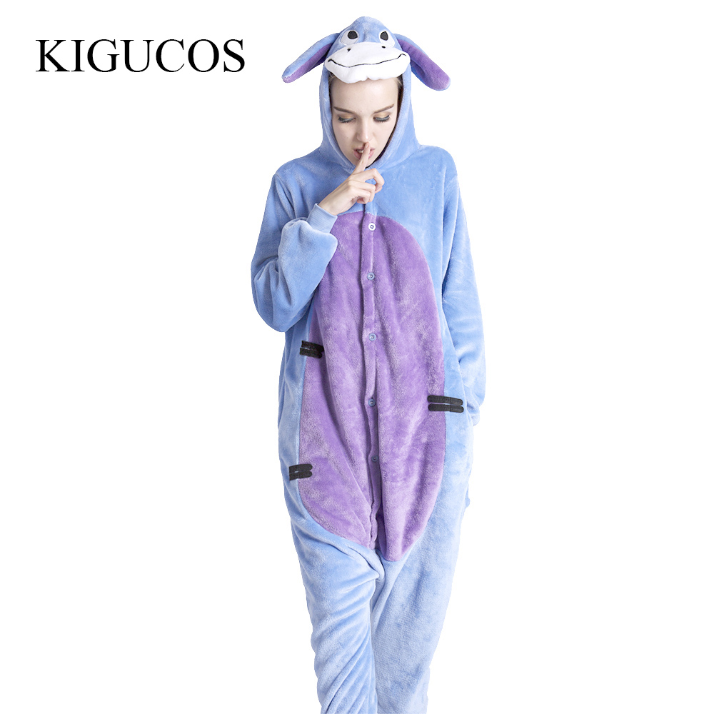 KIGUCOS Women One Piece Cartoon Donkey Onesies Adult Winter Animal Pajamas Cute Sleepwear Lovely Pijama