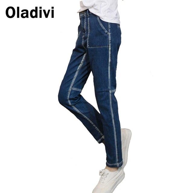 Moda Pantalones de Mezclilla Vaqueros Ocasionales de Las Mujeres 2016 Nueva Primavera Verano Damas Mezclilla Larga Duración Pantalones Con Bolsillos Tamaño Pequeño Ropa