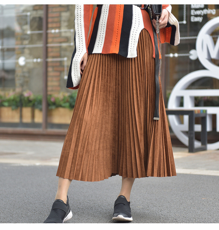19 Two Layer Autumn Winter Women Suede Skirt Long Pleated Skirts Womens Saias Midi Faldas Vintage Women Midi Skirt 44
