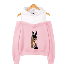 Frdun Tommy Ariana Grande in Women's Off-shoulder Hoodies Exclusive Kpop Casual Sexy Girls New Condole belt Hoodies Sweatshirt(China)