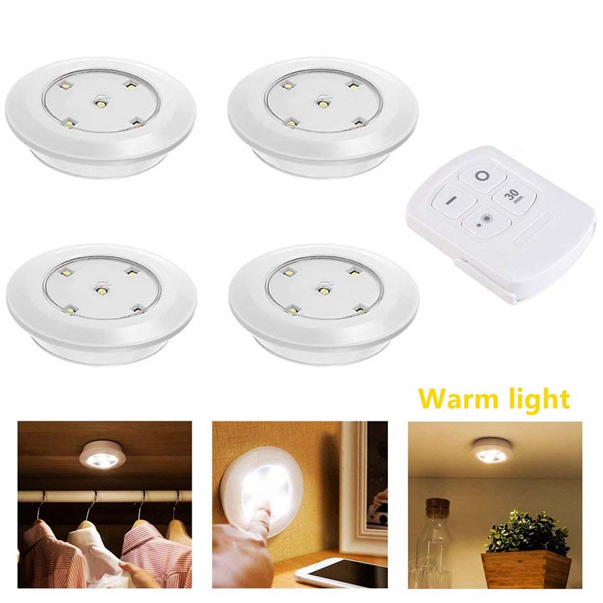 Portable LED Stick-on Wireless Puck Light Adjustable Brightness Under Cabinet Kitchen Closet Light Touch Sensor Wall Night Light