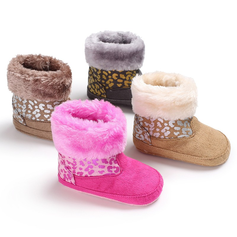 Fashion Winter Baby Kids Leopard Printed Infant Toddler Newborn Girls Boys Keep Warm Snowfield Fleece Soft Soled Shoes