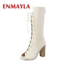 ENMAYLA 2018 women open toe lace up Summer boots lady summer cross-tied square heel female Big size 34-43 ZYL332