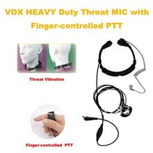Freeship 2013 throat mic air tube headset for cb radio VOX Heavy Duty Throat MIC with Finger PTT (Different Plugs for Selection)