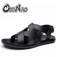 OUDINIAO Mens Shoes Special Design Men Sandals Summer Men Shoes Beach Breathable Buckle Gladiator Sandals Men Zapatillas Hombre