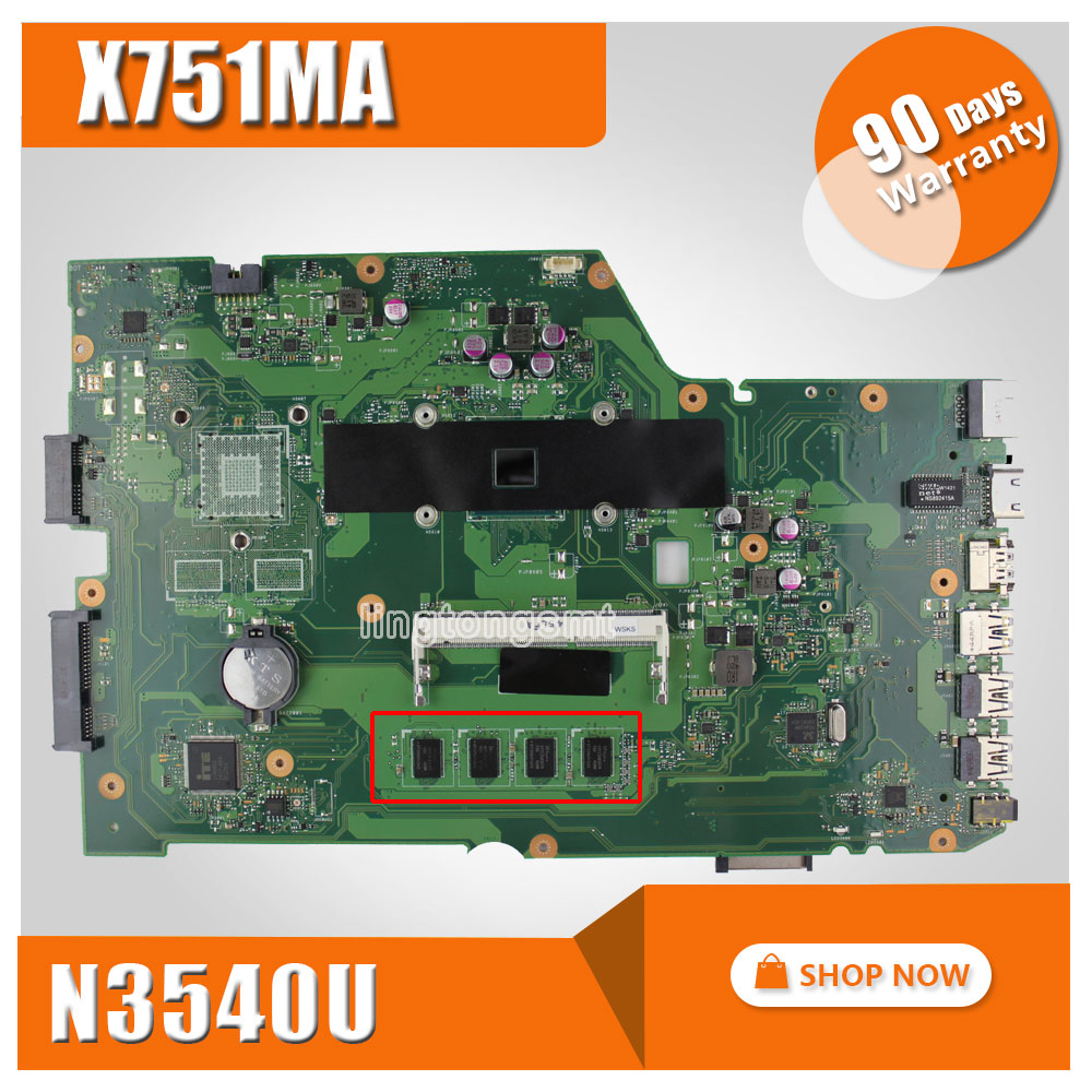 for ASUS X751MA motherboard X751MD REV2.0 Mainboard Processor N3540 4G Memory On Board Original for asus x751ma motherboard x751md rev2 0 mainboard processor n3530u 2g memory on board fully tested