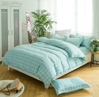 Fashin Green Plaid Bedding Set Adult Kids High Quality Bed Linen Bedclothes Include Duvet Cover Bed Sheet Pillowcase Free Ship