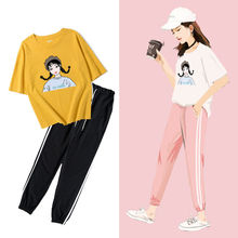 2 piece set women Sports suit female summer 2019 new loose fashion casual two-piece female college wind student Korean female цена и фото