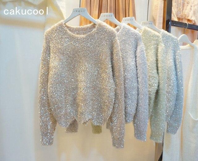 W Ultra Cakucool kobiety złote swetry z lureksu jesień zima Bling Furry LR62