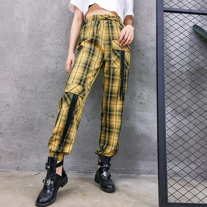 High Waist   Pants   Camouflage Loose Joggers Army Harem Camo   Pants   Women Streetwear Punk Yellow Cargo   Pants     Capris   Trousers XM491