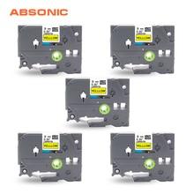 Tze-Tape Labelmaker PT-H110 Tze621 Black Absonic PT-D210 Yellow 9mm 5PCS Compatible