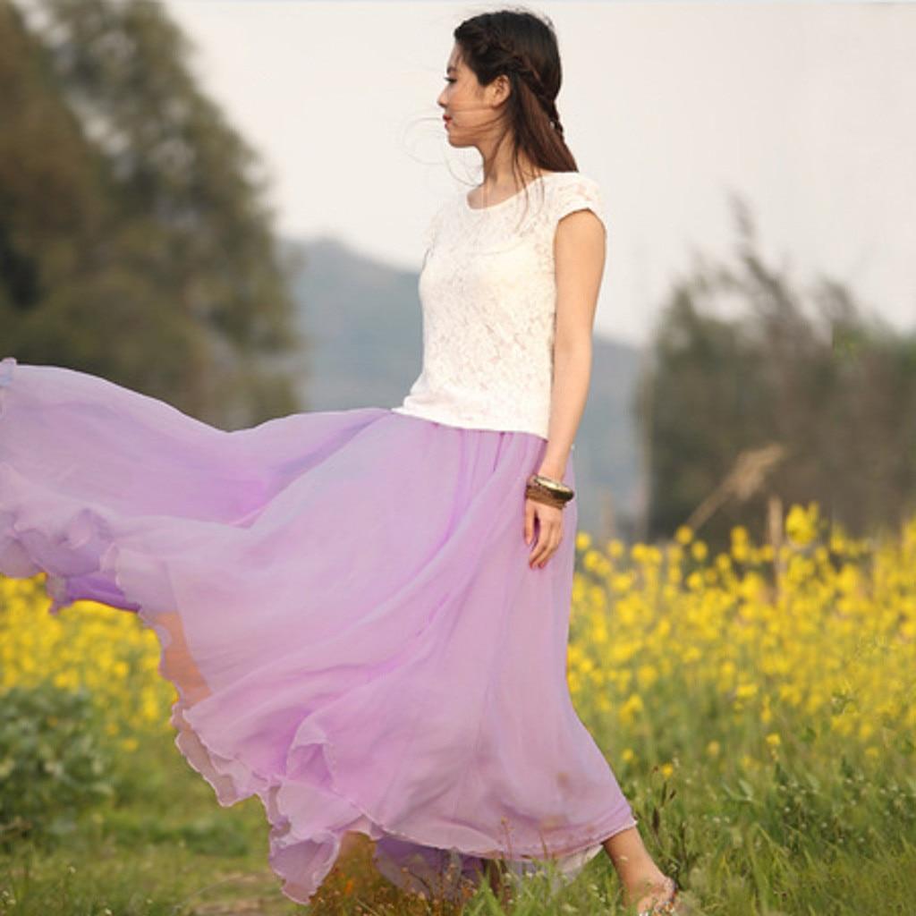 2020 Casual Fashion Women Boho Maxi Solid Elastic Waist Long Chiffon Skirt Empire Evening Party Beach Floor-Length Skirt 50