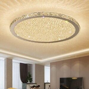 Image 1 - Cristal, luminaire dintérieur en acier inoxydable, éclairage à intensité réglable, luminaire décoratif de plafond, idéal pour un salon ou une chambre à coucher, plafond moderne à LEDs