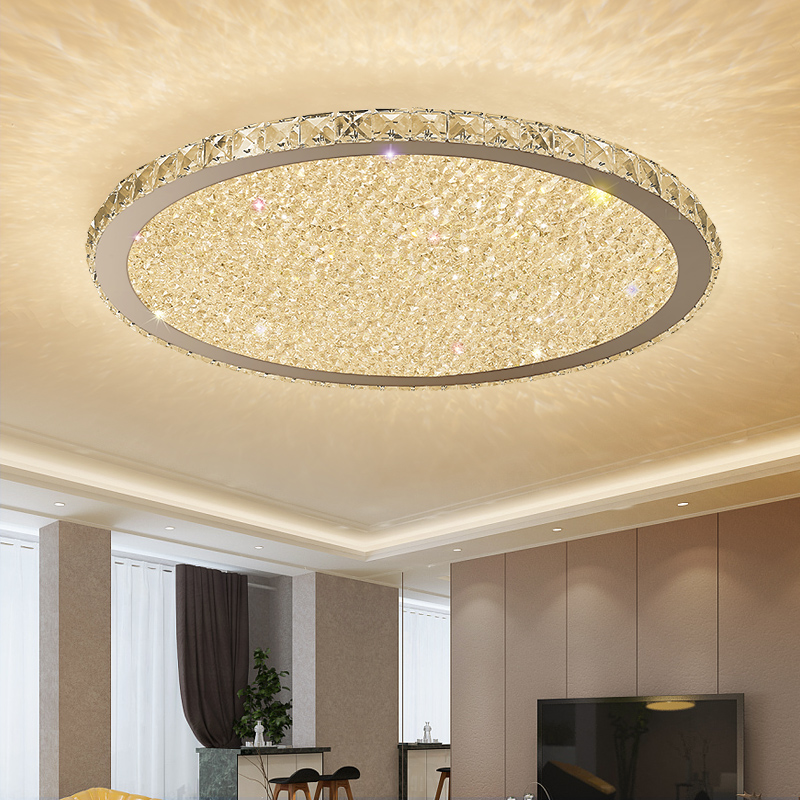 Crystal Modern LED Ceiling Lights For Living Room Bedroom Home Lighting Fixtures Remote Dimming Stainless Steel Ceiling Lamp