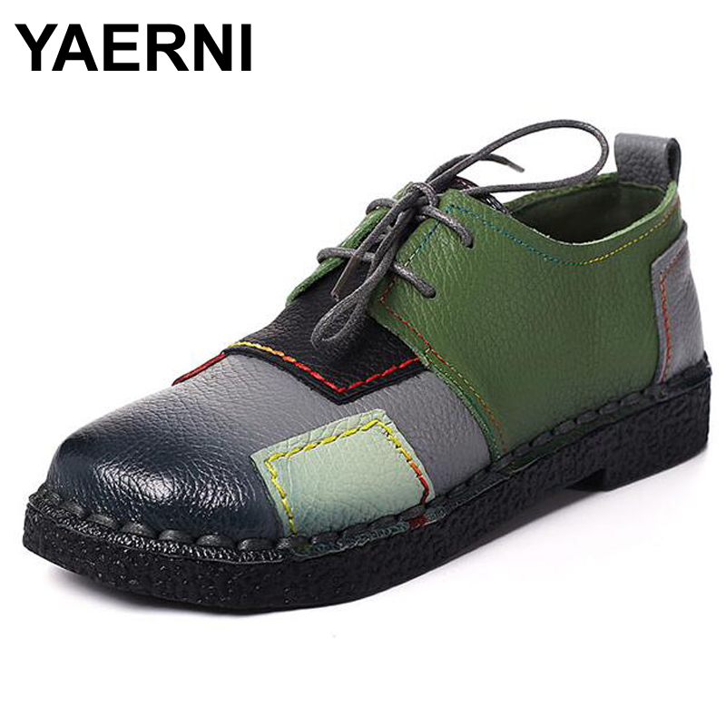 YAERNI Women's Handmade Shoes Genuine Leather Lace-Up Flat Shoes Woman Loafers Soft Comfortable Casual Shoes Women Flats fashion brand genuine leather shoes for women casual mother loafers soft and comfortable oxfords lace up non slip flat moccasins