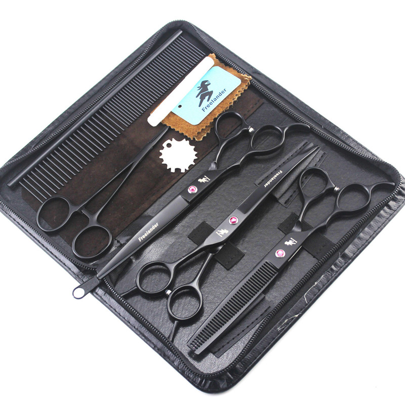 Professional Black 7 inch Dog Pet Grooming Scissors Left Handed Pets Shears Set Cutting+Curved+Thinning+Steel Comb+Bag/Tools car electric jack 3 in 1 auto repair tool electric jack wrench suit 12v built in circuit breaker electric wrench sturdy suitcase