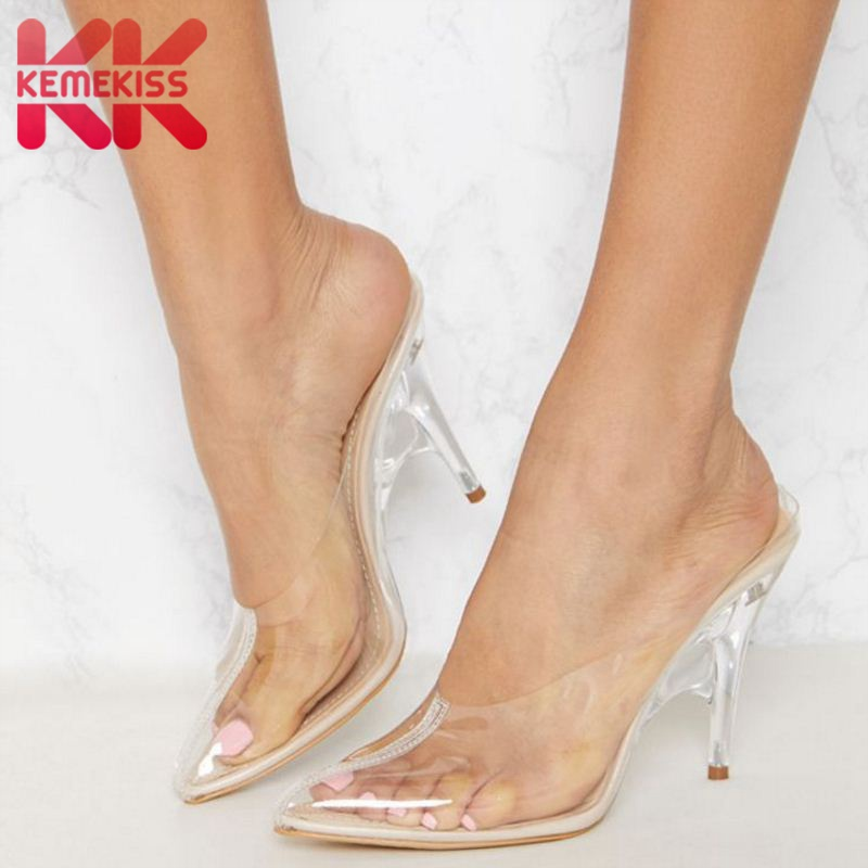 KemeKiss Women High Heel Sandals Transparent Slippers Sexy Pointed Toe Thin Heels Shoes Women Party Club Footwear Size 35-43