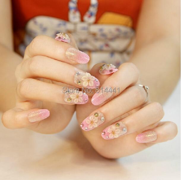 Professional Salon Acrylic Nails 24PCS Jewelry Nail Tips Easy To ...