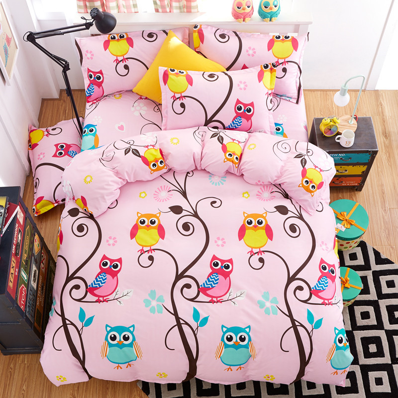 Pink Cartoon Owl Design 3 4pcs Bedding Set Duvet Cover