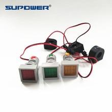 CE RoHS 22 мм светодиодный индикатор панель типа монтажный квадратный цифровой вольтметр Амперметр AC 2 в 1 тестер 20-500 В 1-100Amp