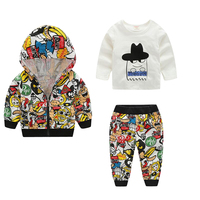 3pcs Hot Sale Fashionable Kids Cartoon Printed Casual Clothes Hoodie Coat Tops Pants Outfit For