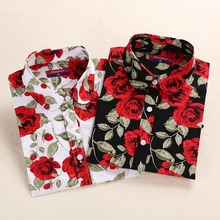 Cherry/Floral Long Sleeve Turn Down Collar Blouses