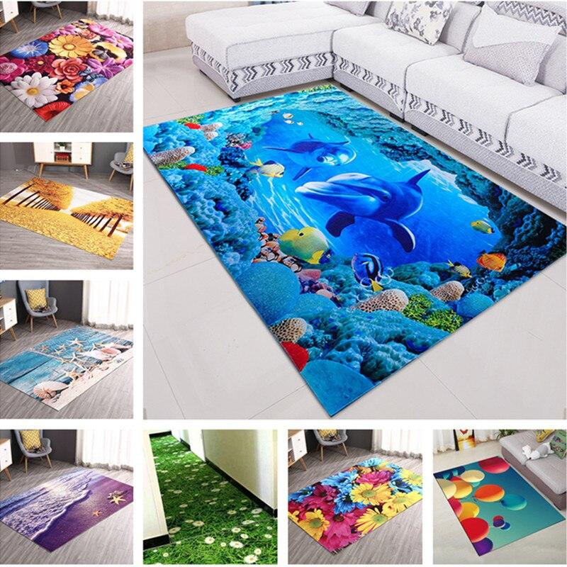 New 3D Printing Hallway Carpets Flower Fish Bedroom Living Room Tea Table Rugs Kitchen Bathroom Antiskid Mats