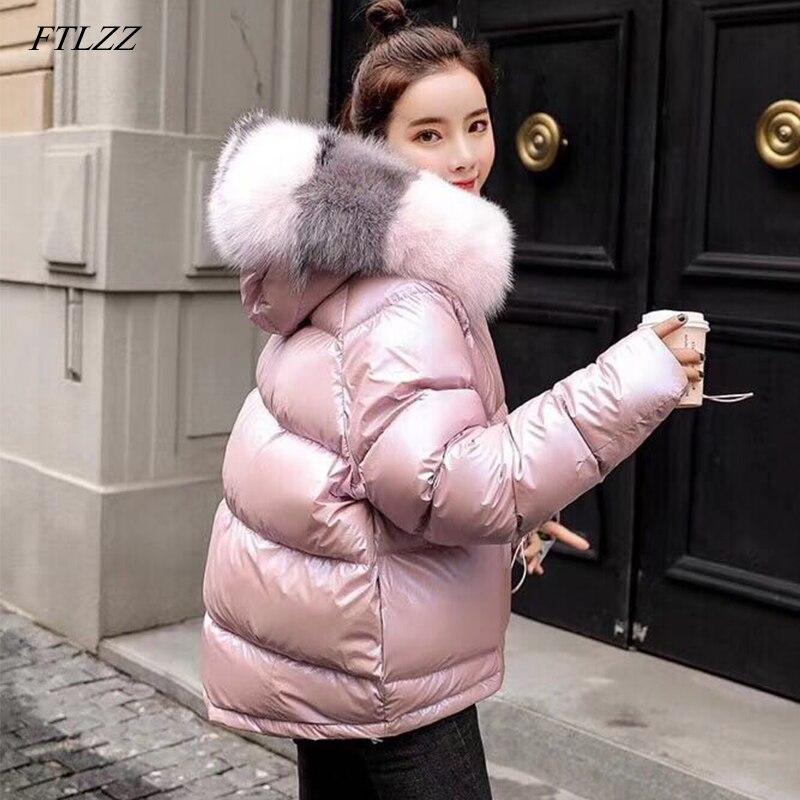 FTLZZ Winter Duck Jacket Women Real Fur Collar Silver Golden Duck Down Coat Hooded Double Sided Parkas Waterproof Outerwear