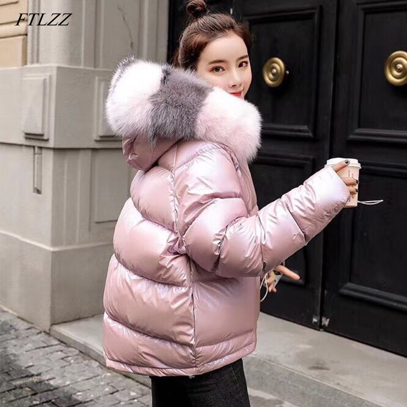 FTLZZ Winter Duck Jacket Women Real Fur Collar Silver Golden Duck   Down     Coat   Hooded Double Sided Parkas Waterproof Outerwear