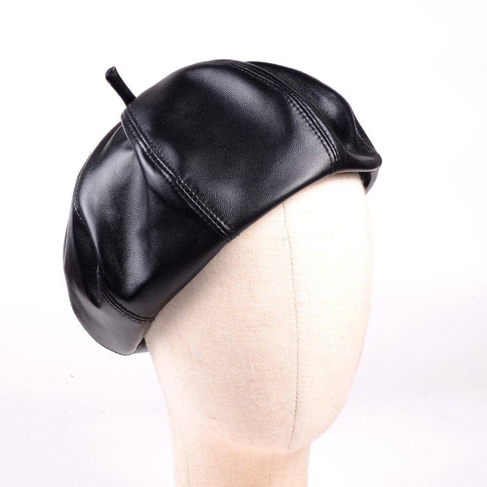 Women 39 s genuine Leather Lambskin Beanie Beret Round Octagonal cap Newsboy hat cap in Women 39 s Berets from Apparel Accessories