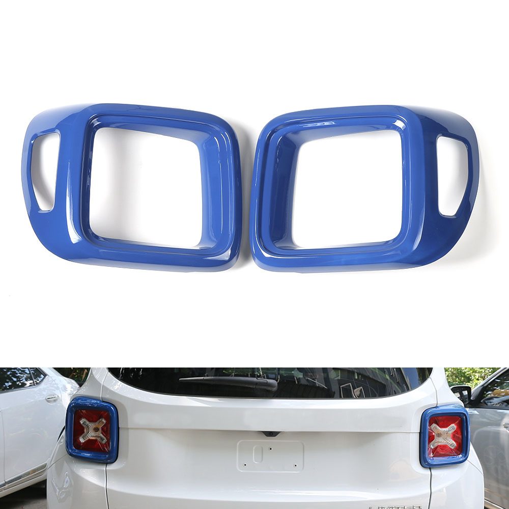 2pcs ABS Blue font b Exterior b font Tail Rear Light Lamp Full Cover Trim Frame