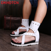 White Clip Toe Men Patent Leather Sandals Summer Breathable Fashion High Top Shoes Personality Rivet Heel Increased Sandal Boots