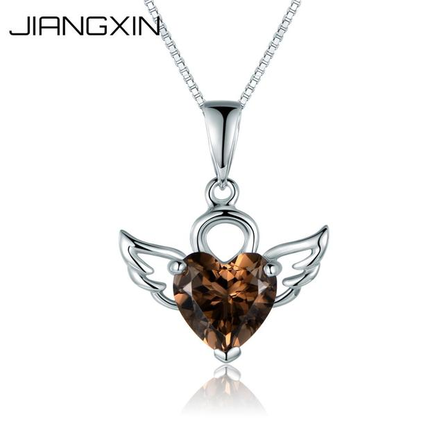 JiangXin Rose Quartz 925 Sterling Silver Pendant Necklace for Women 2scIAvd