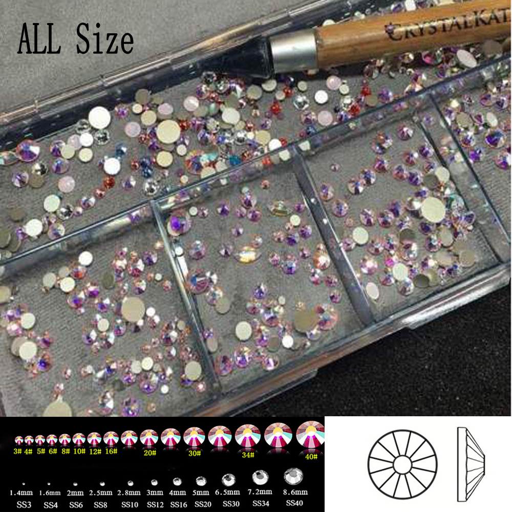 2058NoHotFix SS3-SS50 All Sizes Crystal AB Glitter Nail Art Decorations DIY Glass Flatback Rhinestones for Nails Clothe Decor ss3 ss30 jet black ab nail art rhinestones with round flatback for nails art cell phone and wedding decorations