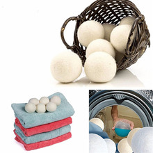 6Pcs/Pack Wool Dryer Balls Reusable Natural Organic Laundry Fabric Softener Ball Premium Washing Machine Clean