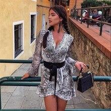 Snake print ruffle women dress winter 2019 V neck flare sleeve autumn High waist dresses party vestidos #327