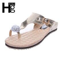 Hee Grand/Новинка 2017 года Вьетнамки модные однотонные женские туфли с кристаллами женская обувь Летняя обувь XWZ475