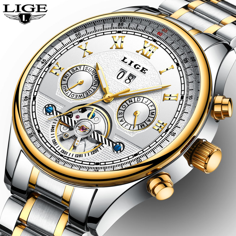 New Men's Watches Top Brand Luxury Automatic Watch Men Full Steel Waterproof Sport Clock Man Fashion Business relogio masculino new business watches men top quality automatic men watch factory shop free shipping wrg8053m4t2