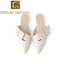 цены KATELVADI Women Slippers Beige PU Female Mules Fashion Low Heels Shoes Pointed Toe Ladies Plus Size Elegant Woman Slipper K-382