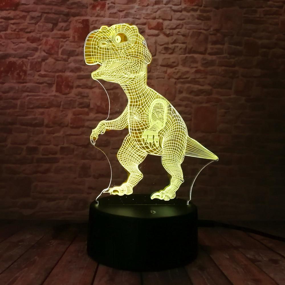 Yeni Unikal Tirannosaurus Rex Dinosaur Dragon 3D 7 Rəng - Gecə işığı - Fotoqrafiya 4