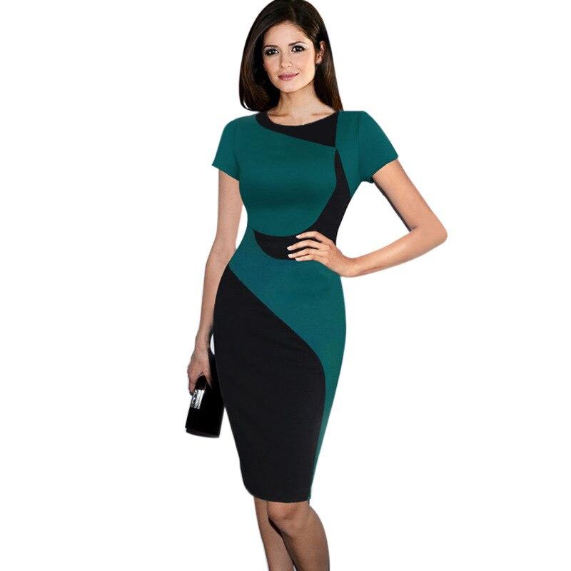 ee863f835ed5b Sexy Bodycon Women Summer Dress Elegant O Neck Slim Fitted Pencil Dress  Plus lady Work Office Business Bodycon Pencil Dress