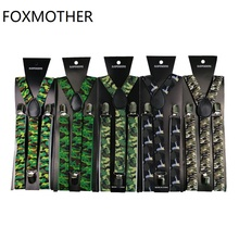 Camo Mens Trouser Suspenders 1 Inch Wide Y-Shape Bretellen Tirantes Hombre Army Green Camouflage Braces