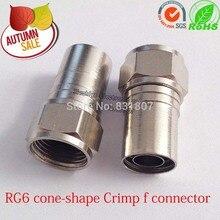50 PCS de cobre cone forma de Friso RG6 f conector RG6 Hex Crimp F Tipo de Adaptador Do Conector coaxial RG6 cabo f tipo plug