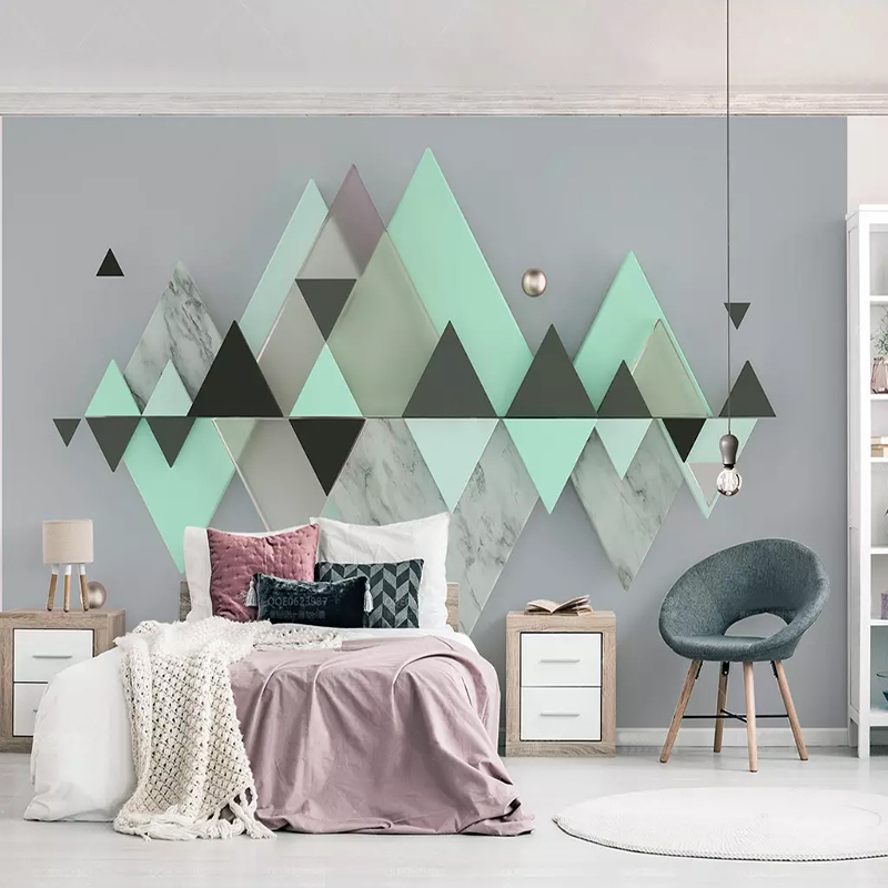 US $8.2 56% OFF|Custom Photo Wallpaper Modern Abstract Art 3D Stereo  Geometry Triangle Mint Green Mural Wall Painting Living Room Bedroom  Decor-in ...