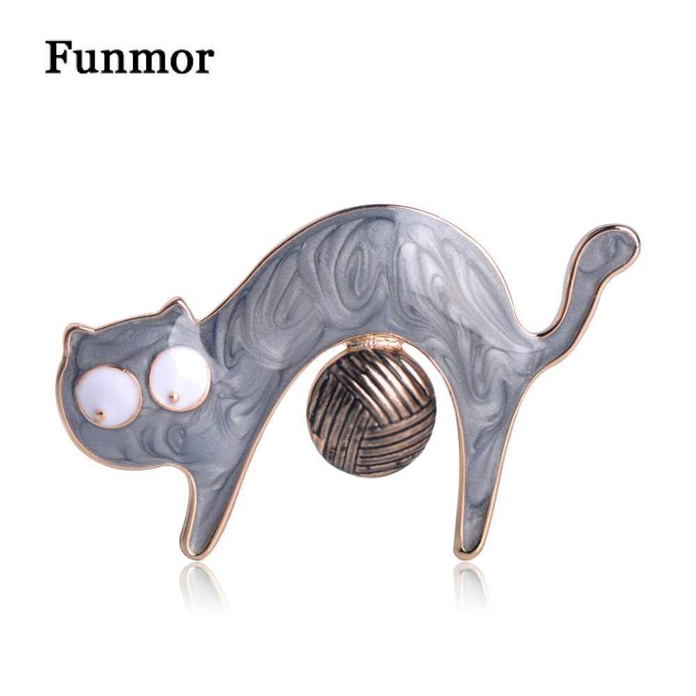 Funmor Kawaii эмаль кошки с броши с шариком золото яркий цвет сплав животных бутоньерка сумка Украшение свадебные значки подарки