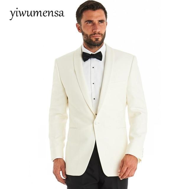 2017 Crème manteau avec un pantalon noir hommes costume costume homme  Custom made Maigre De Mariage 14b7b1cd154